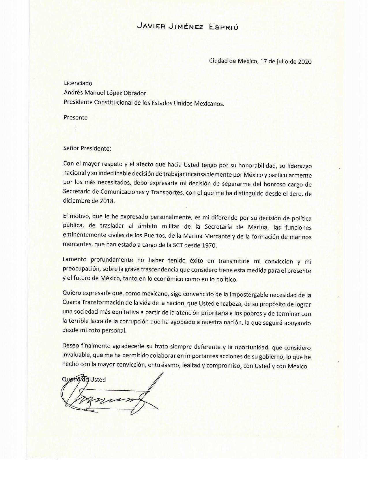 Renuncia Jiménez Espriú a la SCT